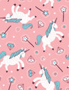 Vector seamless pattern with unicorn, magic wand and crystal on the pink background. Royalty Free Stock Photo