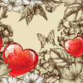 Vector seamless pattern Valentine's Day with flowe Royalty Free Stock Images