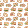 Vector seamless pattern with various fresh bagel sandwiches.