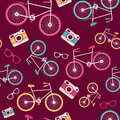 Vector seamless pattern with vintage bicycle camera sunglasses speech bubble silhouettes Royalty Free Stock Images
