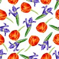 Vector seamless pattern with watercolor garden flowers, hand drawn vector illustration