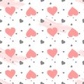 Vector seamless pattern with watercolor hearts and grunge elements on a white background