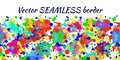 Vector seamless pattern with watercolor ink blots, splash and brush strokes. Horizontal banner, seamless border