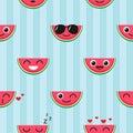 Vector seamless pattern with watermelon emoji