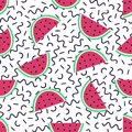 Vector seamless pattern with watermelon and geometric elements