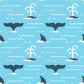Vector seamless pattern with whale fins over the water.