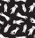 Vector seamless pattern with white elegant lace gloves on the black background. Royalty Free Stock Photo
