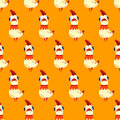 Vector seamless pattern with white rooster on a yellow background