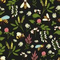 Vector seamless pattern of wild flowers, bees and bumblebees