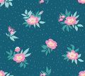 Vector seamless pattern with  wild roses  on the dark blue background, vintage style. Royalty Free Stock Photo