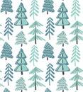 Vector seamless pattern with winter fir forest