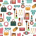 Vector seamless pattern of women accessories and cosmetics Royalty Free Stock Photo