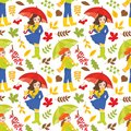 Vector Seamless Pattern with Young Girls and Autumn Colorful Leaves