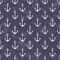 Vector seamless patterns Background with anchor Creative geometric vintage backgrounds, nautical theme Graphic illustration with a