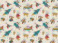 Vector seamless patterns with funny ufo. Royalty Free Stock Photo