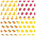 Vector seamless patterns set with fruits. Healthy food background Royalty Free Stock Photo