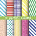 10 vector seamless patterns. Textures for wallpaper, fills, web page background. Royalty Free Stock Photo
