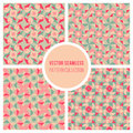Vector Seamless Pink Teal Geometric Retro Square Pattern Royalty Free Stock Photo