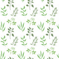Vector seamless plant background. Endless pattern with green twigs and leaves silhouette. Royalty Free Stock Photo