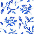 Vector Seamless Porcelain Pattern in White Background Royalty Free Stock Photo