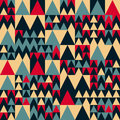 Vector Seamless Red Navy Blue Tan Colors Geometric Irregular Triangle Square Pattern Royalty Free Stock Photo