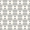 Vector seamless retro pattern, with diamonds. Royalty Free Stock Photo