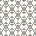 Vector seamless retro pattern, with diamonds. Royalty Free Stock Photo