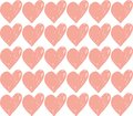 Vector seamless retro pattern, pink heart. Hand-drawn, grunge style. Can be used for Wallpaper, picture fill, web page background