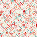 Vector Seamless Retro 80's  Jumble Geometric Line Shapes Blue Red Color Hipster Pattern on Grey Background Royalty Free Stock Photo