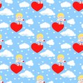 Vector seamless romantic pattern with cute cupid sitting on heart