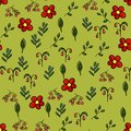 Vector seamless spring background.Vector flowers and leaves on a