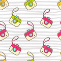 Vector seamless summer pattern with color photo camera. Bright c Royalty Free Stock Photo