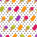Vector seamless summer pattern with multicolor ice cream. Cones ice cream and ice lolly and polka dot background.