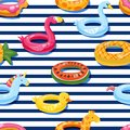 Vector seamless swimming pool float rings pattern. Inflatable kids toys background. Design for summer textile print.