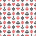 Vector seamless symmetrical pattern with black and red lined playing card symbols on the white background. Royalty Free Stock Photo