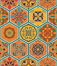 Vector seamless texture. Beautiful patchwork pattern for design and fashion with decorative elements in hexagon