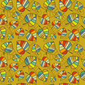Vector seamless texture with bright autumn leaves on a mustard background