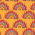 Vector seamless texture with ethnic or psychedelic symbols, doodle vector illustration. Endless background. yellow Red