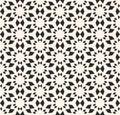 Vector seamless texture, floral tile pattern. Monochrome geometr