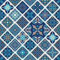 Vector seamless texture. Mosaic patchwork ornament with rhombus tiles. Portuguese azulejos decorative pattern