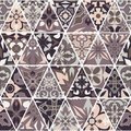 Vector seamless texture. Mosaic patchwork ornament with triangle elements. Portuguese azulejos decorative pattern Royalty Free Stock Photo