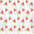 Vector seamless texture painted handmade watermelon and wood Royalty Free Stock Photo