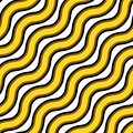 Vector seamless texture. Repeating pattern of wavy gold and black lines
