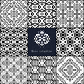 Vector seamless texture. Set of tribal black and white decorative patterns for design. Aztec ornamental style Royalty Free Stock Photo