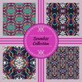 Vector seamless texture. Set of tribal colorful patterns for design. Electro boho color trend. Aztec ornamental style Royalty Free Stock Photo