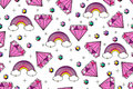 Vector seamless tiling pattern with diamonds and rainbow in cute