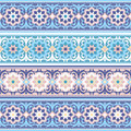 Vector seamless traditional muslim floral ornamen set of the vintage ornament islimi or arabesque Stock Photo