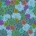 Vector seamless trendy pattern with succulents.