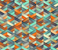 Vector Seamless Triangle Grid Teal Orange Color Shades Gradient Geometric Pattern