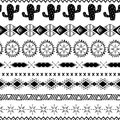 Vector seamless tribal ethnic pattern Aztec abstract background Mexican ornamental texture in black white color Royalty Free Stock Photo